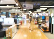 Blurred image of people shopping at Sears