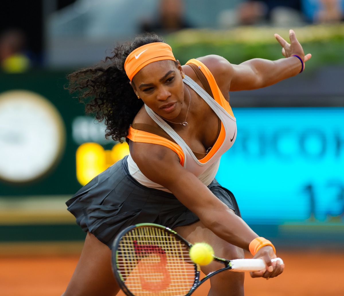 Serena Williams competing at the 2015 Madrid Open