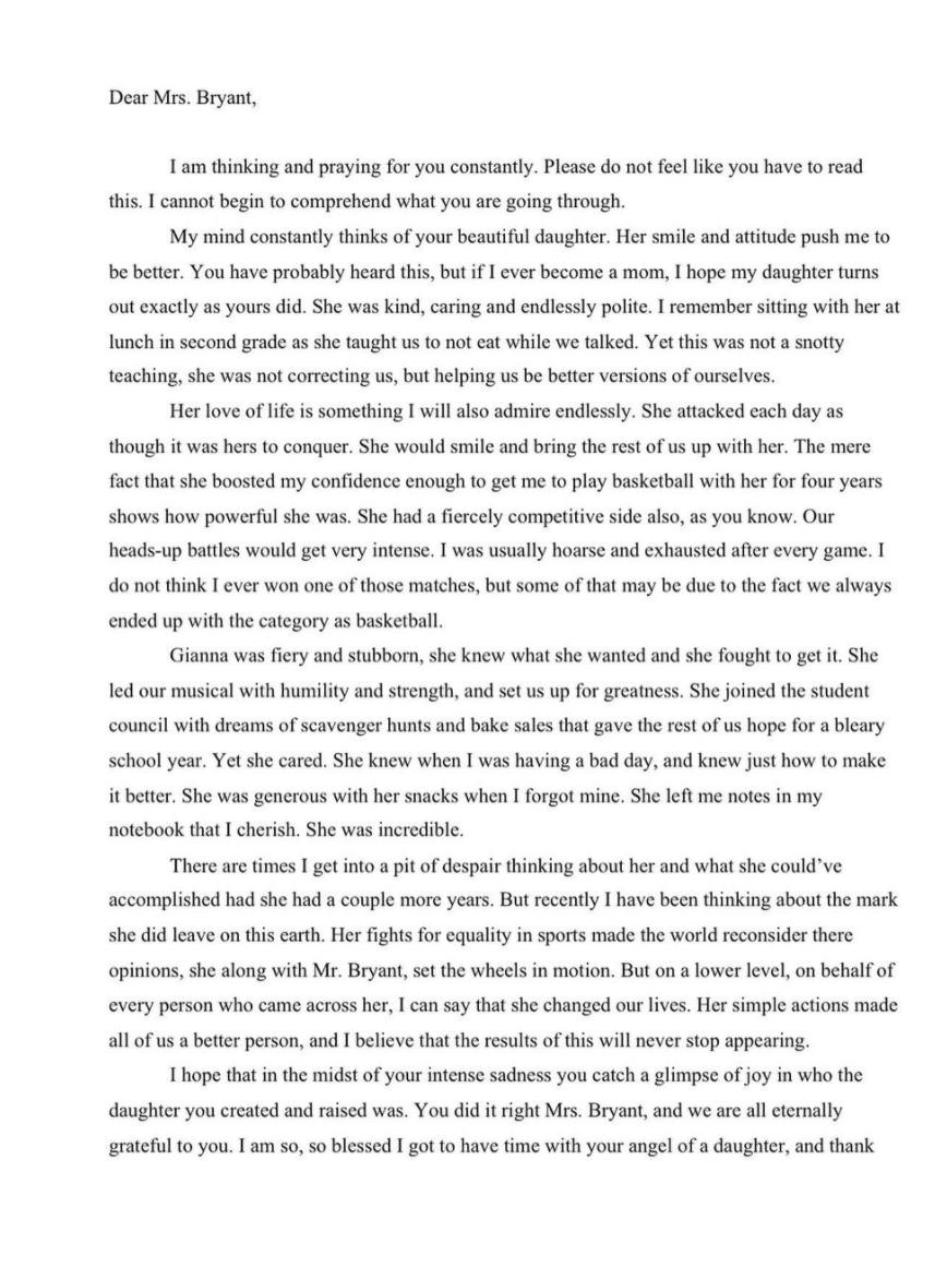 Vanessa Bryant letter