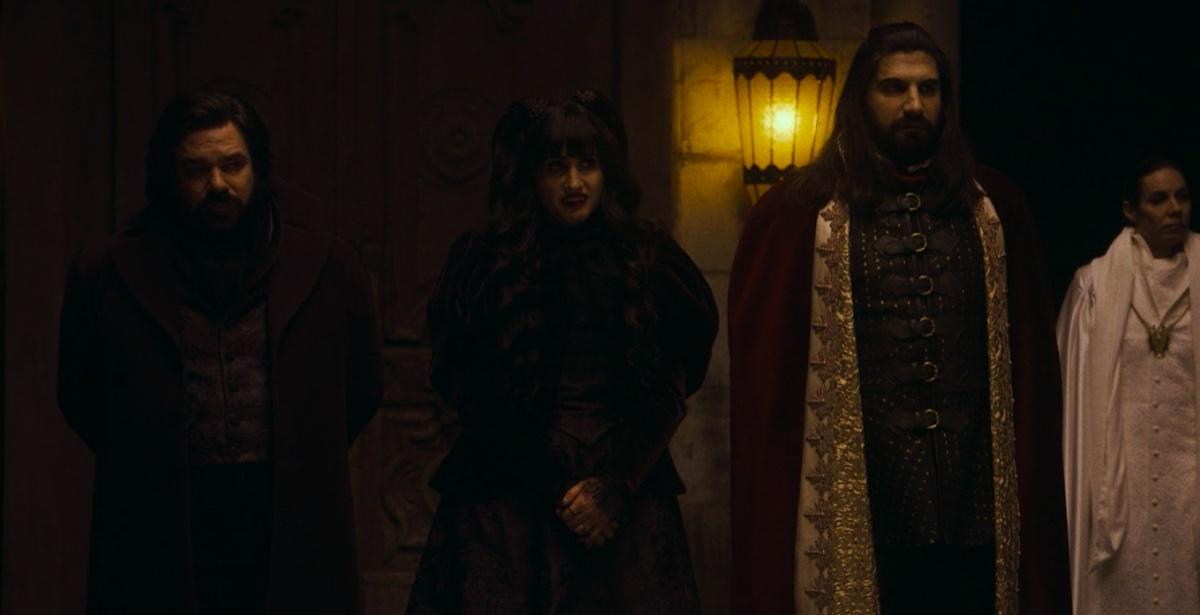Matt Berry, Natasia Demetriou, and Kayvan Novak in What We Do in the Shadows