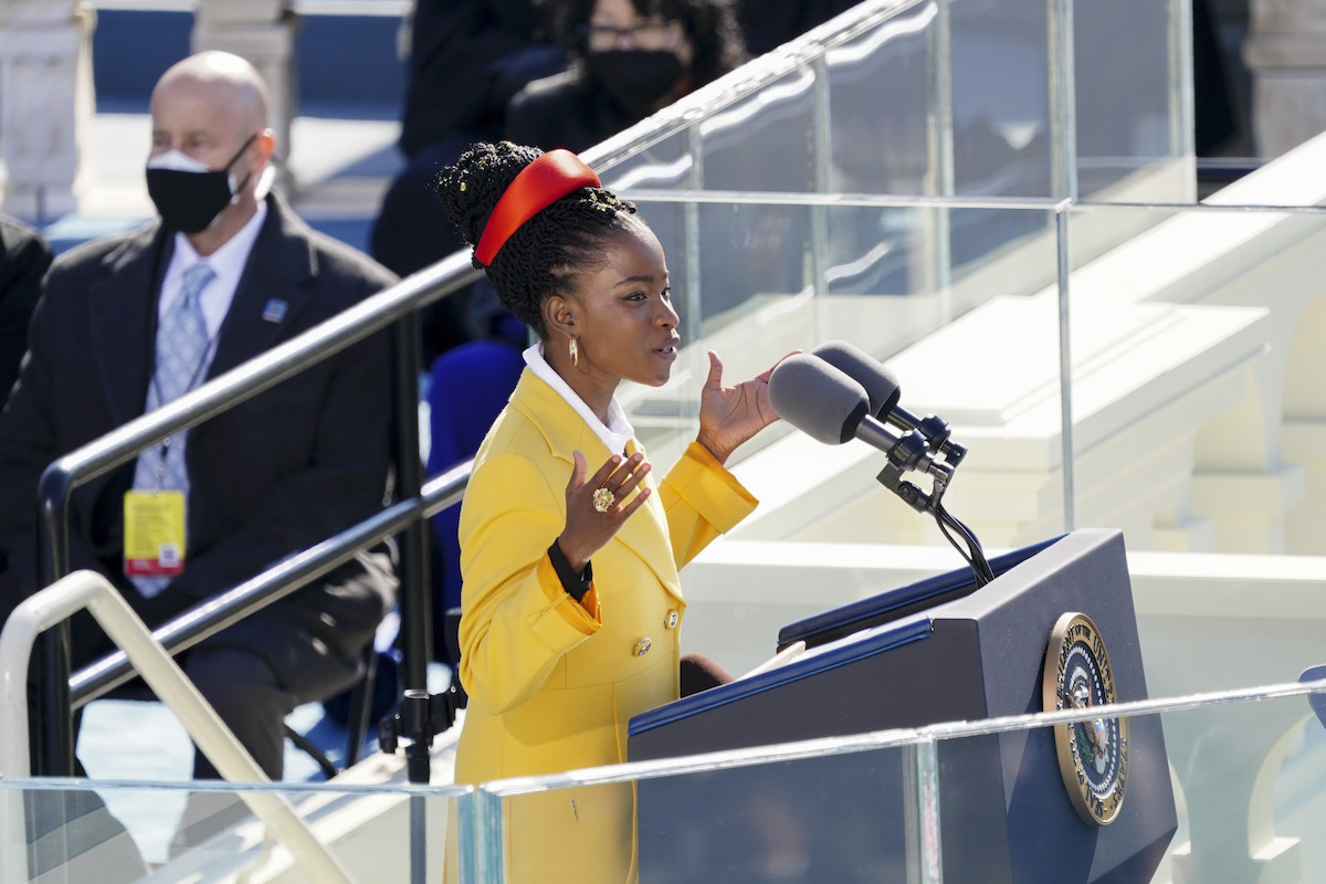 Poet Amanda Gorman speaks during the inauguration ceremony on the West Front of the U.S. Capitol on January 20, 2021 in Washington, DC.