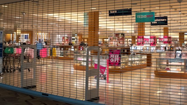 A Belk department store in Raleigh, North Carolina has voluntarily closed inside a mall amid the COVID-19 (coronavirus) outbreak, dated Mar. 18, 2020.