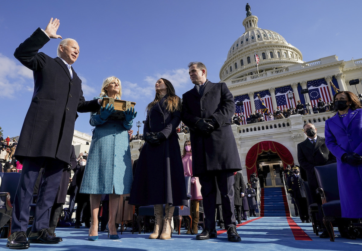 Joe Biden is sworn in as the 46th president of the United States by Chief Justice John Roberts, as Jill Biden and their children Ashley and Hunter look on on the West Front of the U.S. Capitol on January 20, 2021 in Washington, DC.