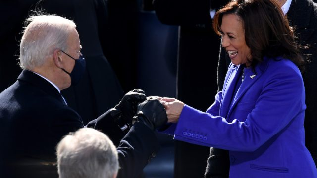 Vice President Kamala Harris bumps fists ahead of the inauguration of Joe Biden as the 46th US President on January 20, 2021, at the US Capitol in Washington, DC