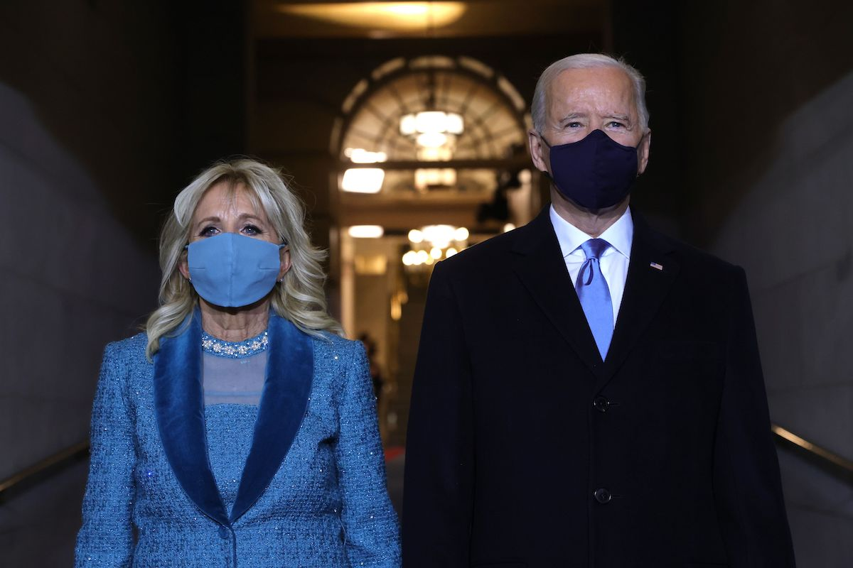 President-elect Joe Biden (R) and incoming US First Lady Jill Biden arrive for his inauguration as the 46th US President, on the West Front of the US Capitol in Washington, DC on January 20, 2021