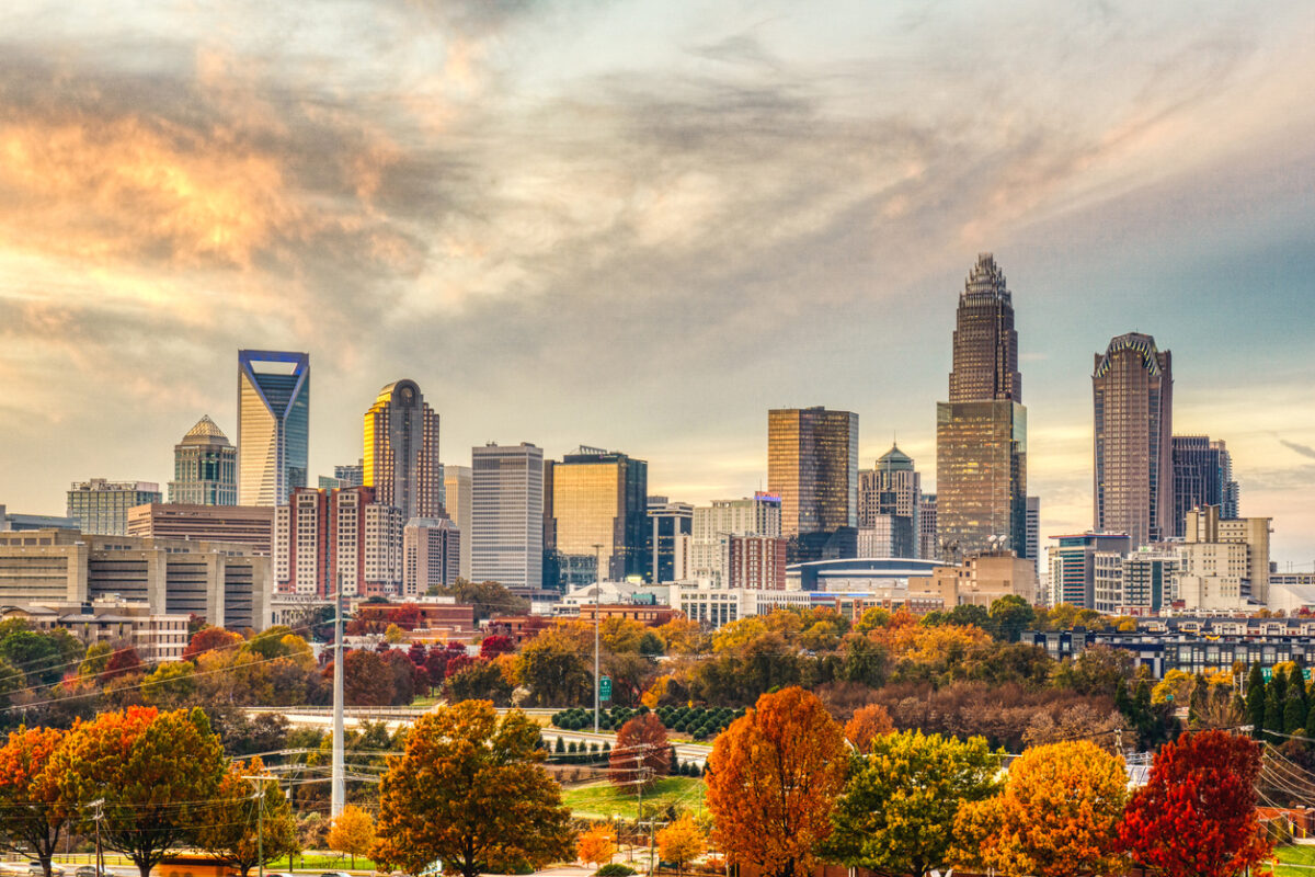 The skyline of Charlotte, North Carolina with fall foliage in the foreground
