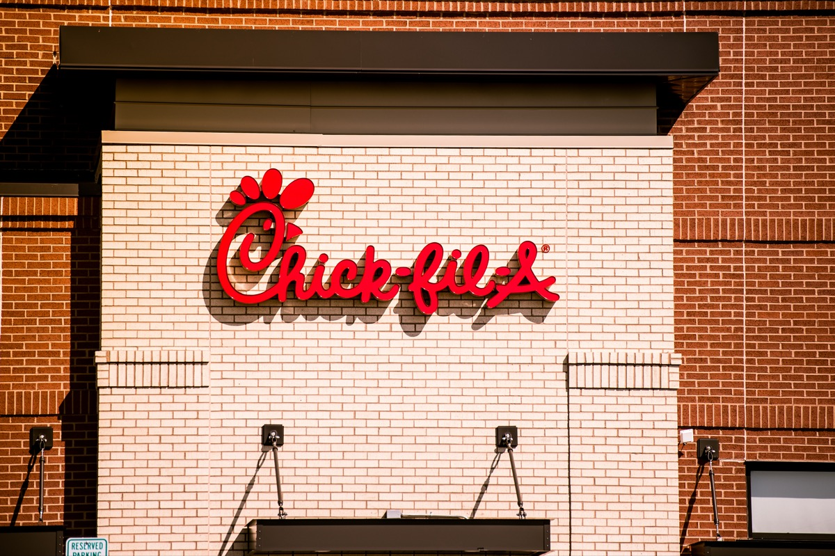 Chick-Fil-A sign on the side of the restaurant in Madison, Wisconsin