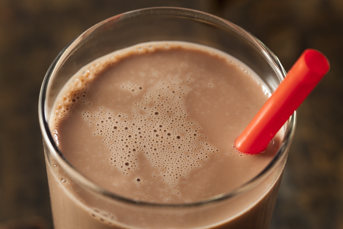 chocolate milk with red straw