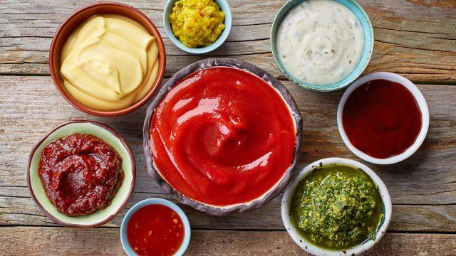 bowls of various dip sauces, top view