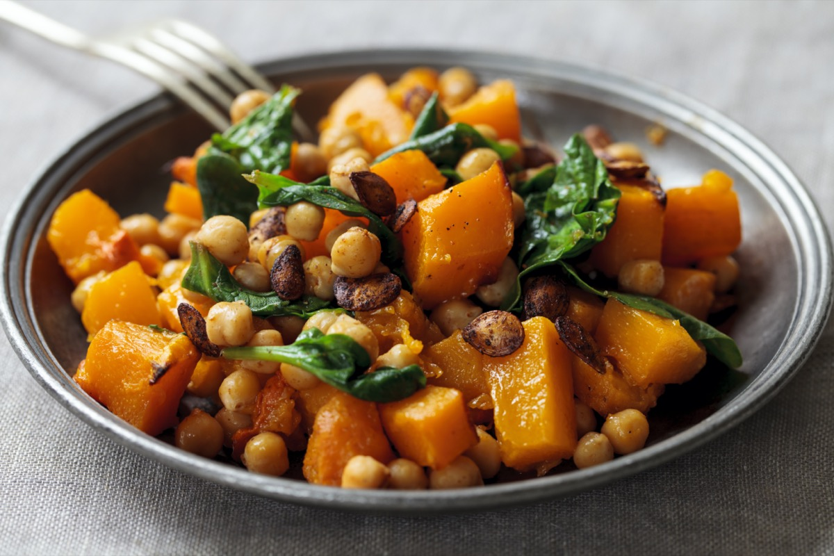 butternut squash and chickpeas in a bowl
