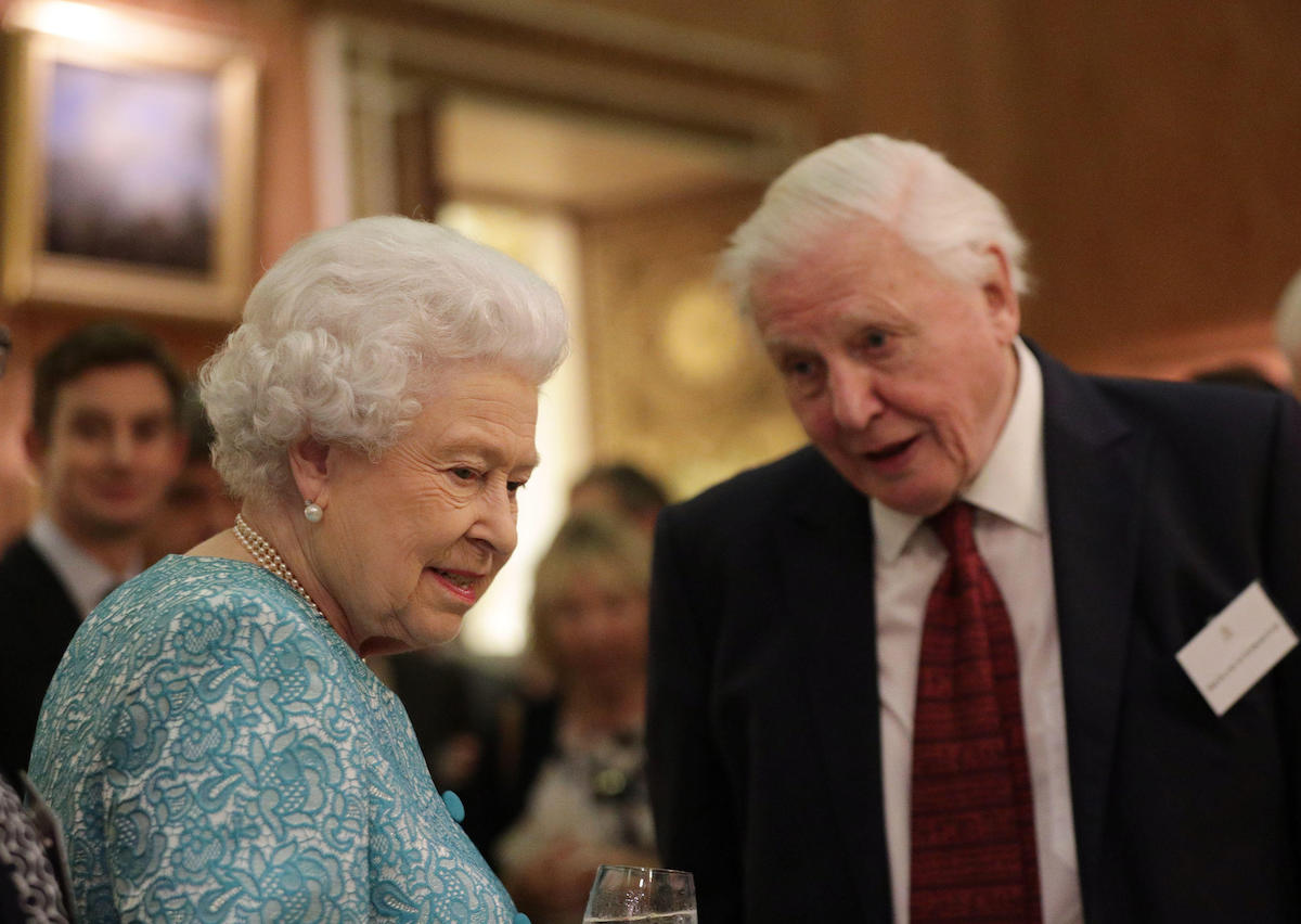 Queen Elizabeth II with Sir David Attenborough during an event at Buckingham Palace, London, to showcase forestry projects that have been dedicated to the new conservation initiative - The Queen's Commonwealth Canopy