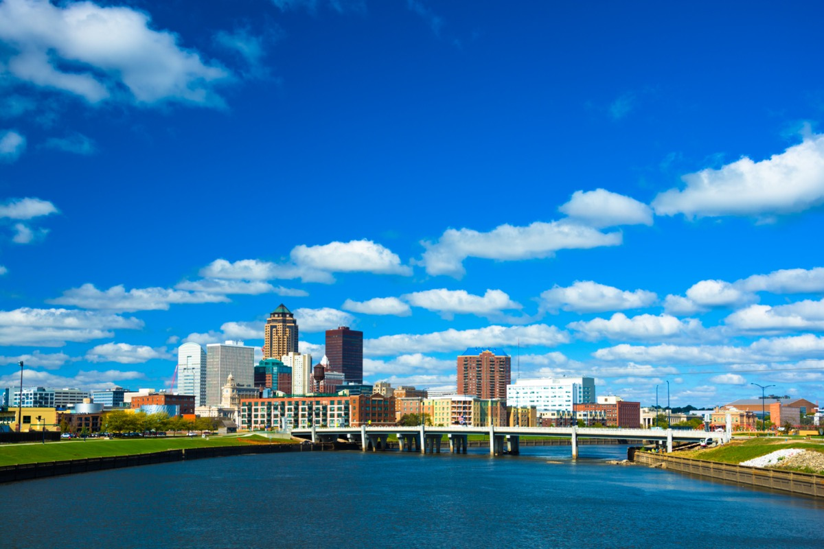 city skyline and Parkway bridge in downtown Des Moines, Iowa