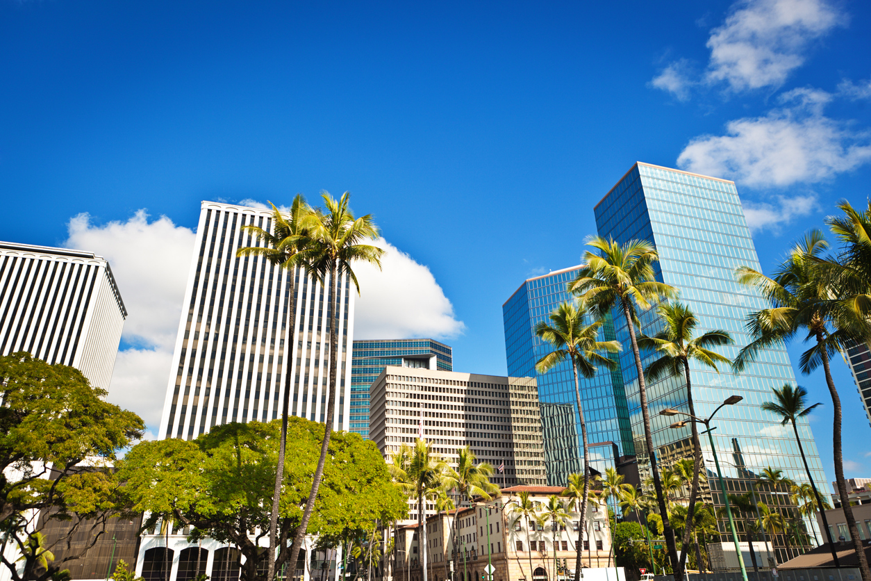 The skyline of downtown Honolulu, Hawaii during the daytime.