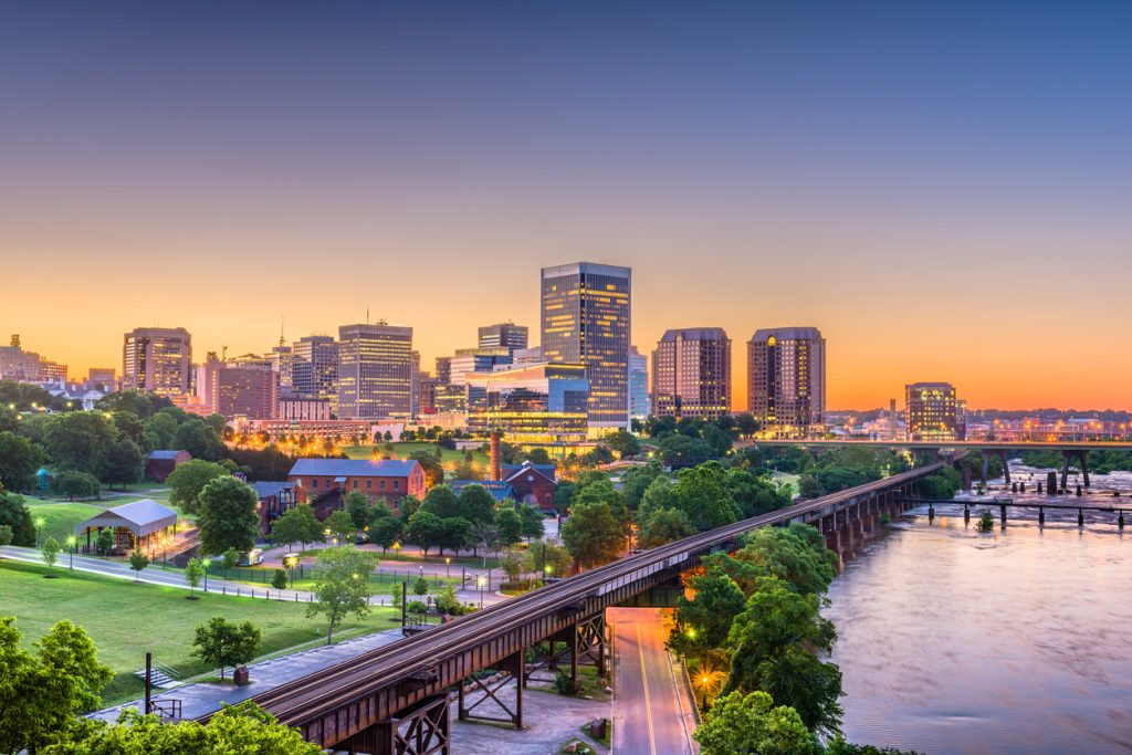The downtown skyline of Richmond, Virginia just after sunrise