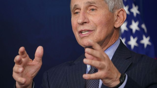 Director of the National Institute of Allergy and Infectious Diseases Anthony Fauci speaks during the daily briefing in the Brady Briefing Room of the White House in Washington, DC on January 21, 2021.