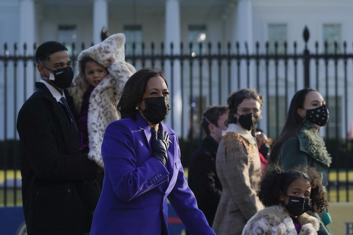 U.S. Vice President Kamala Harris and family members walk the abbreviated parade route after U.S. President Joe Biden's inauguration on January 20, 2021 in Washington, DC.