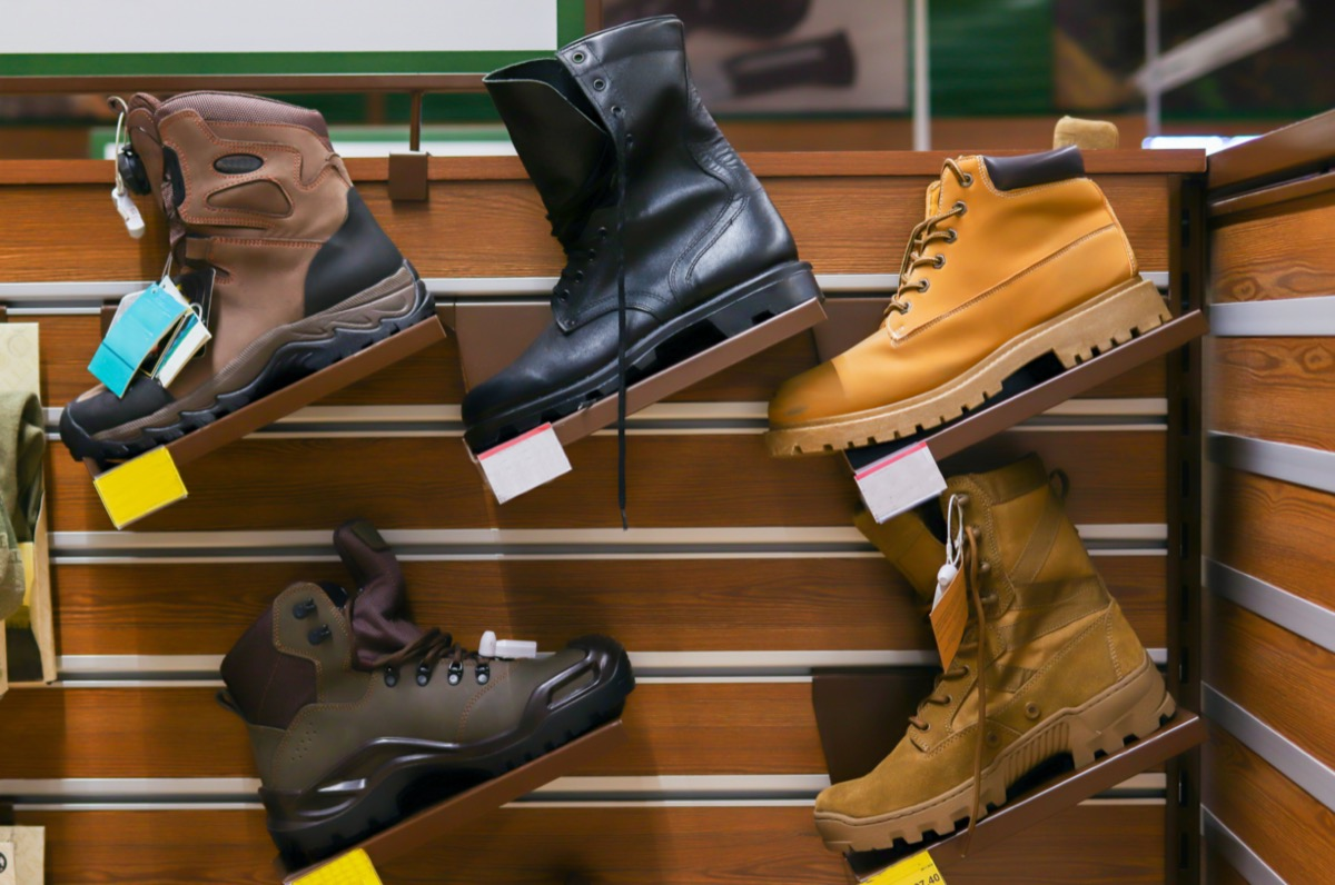 hiking boots on rack in store