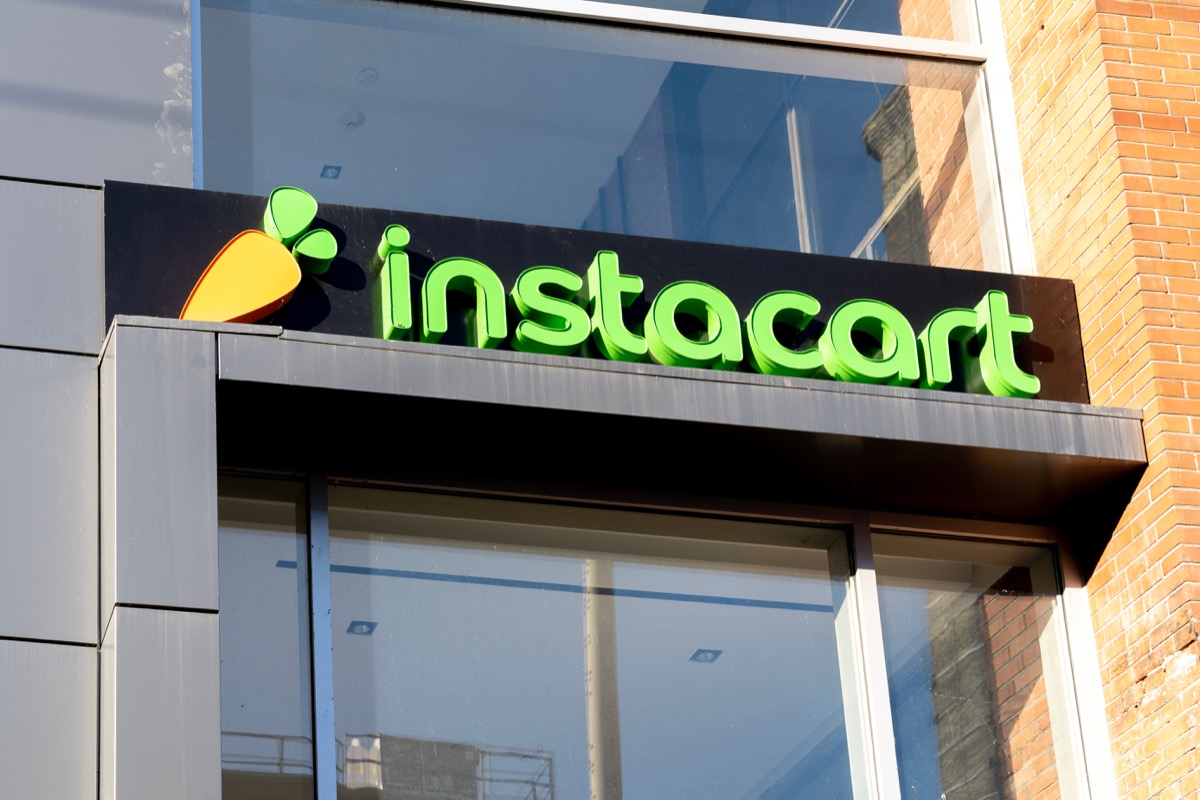 Toronto, Canada- November 14, 2020: Instacart company closeup sign is seen in Toronto, Canada. Instacart is an American company that operates a grocery delivery and pick-up service.