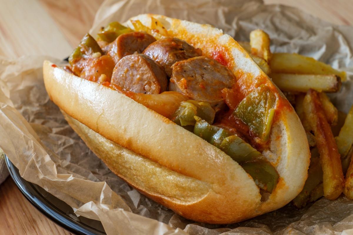 italian sausage sandwich on roll