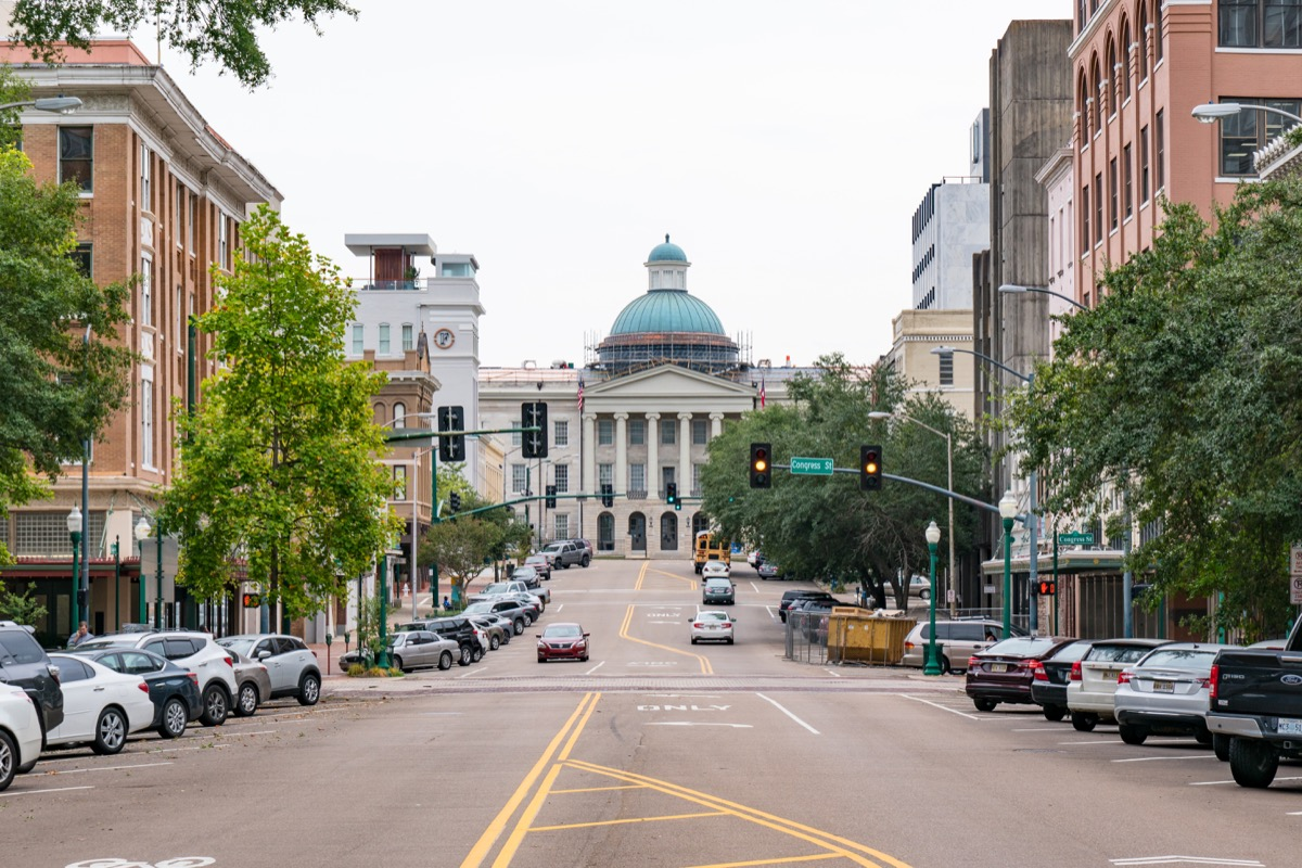 cityscape photo of the Old Mississippi Capitol Building in downtown Jackson, Mississippi