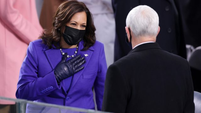 Vice President-elect Kamala Harris greets Vice President Mike Pence as she arrives to the inauguration of U.S. President-elect Joe Biden on the West Front of the U.S. Capitol on January 20, 2021 in Washington, DC.