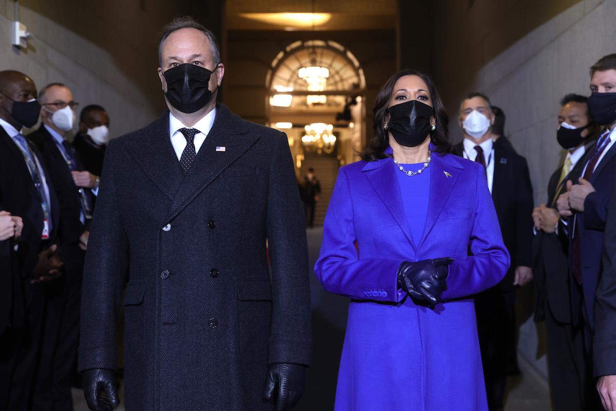Vice President-elect Kamala Harris and husband Doug Emhoff arrive to the inauguration of U.S. President-elect Joe Biden on the West Front of the U.S. Capitol on January 20, 2021 in Washington, DC.