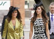 Pippa Middleton and Catherine Duchess of Cambridge attend the wedding of Sam Waley-Cohen and Annabel Ballin at St. Michael and All Angels church on June 11, 2011 in Lambourn, England