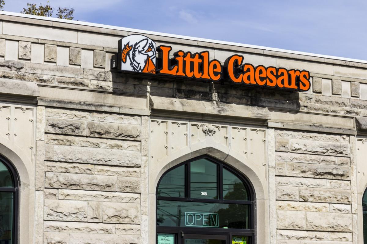 the exterior of a Little Caesars restaurant in Kokomo, Indiana