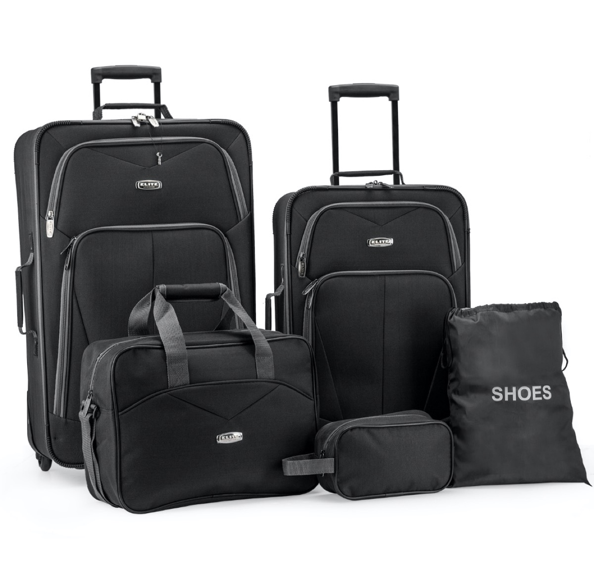 five piece black luggage set