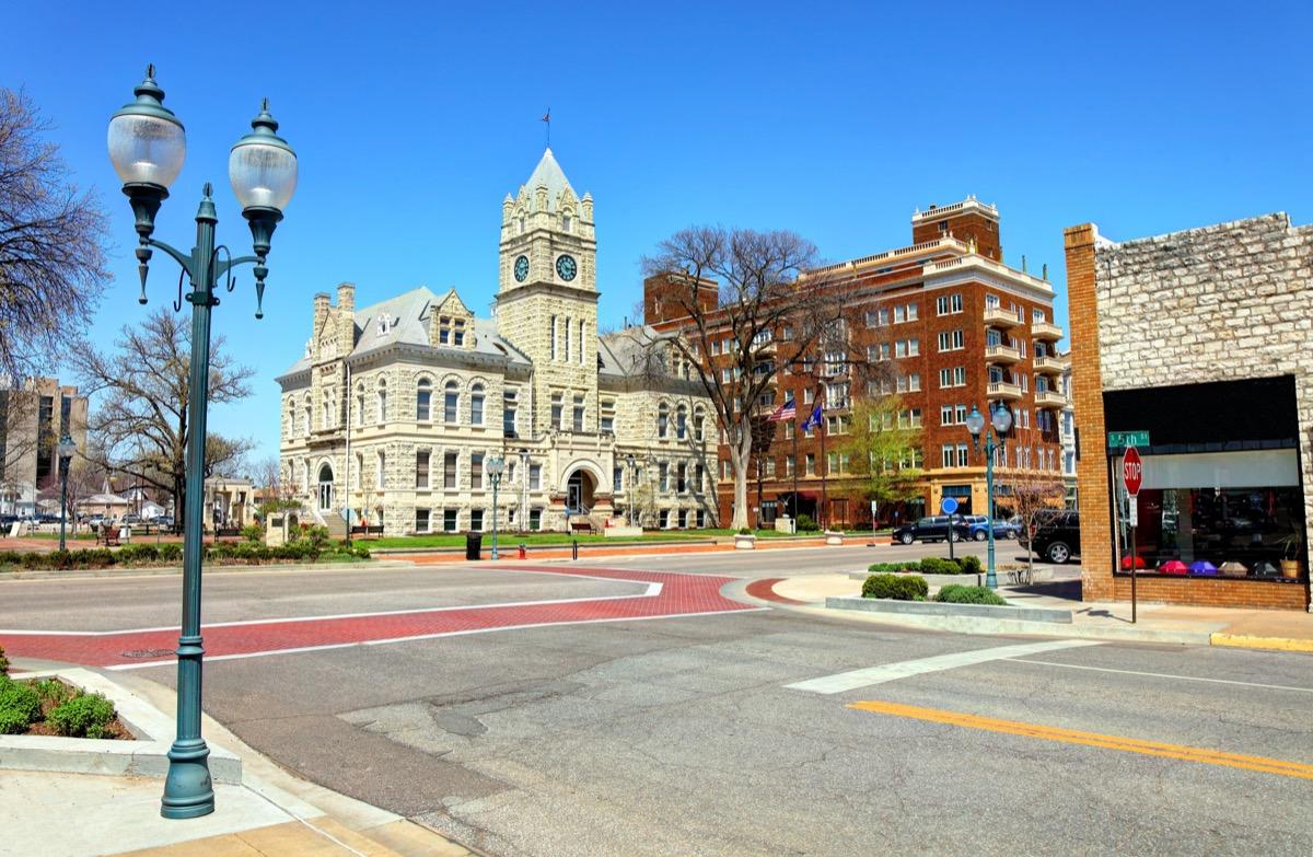 cityscape photo of downtown Manhattan, Kansas