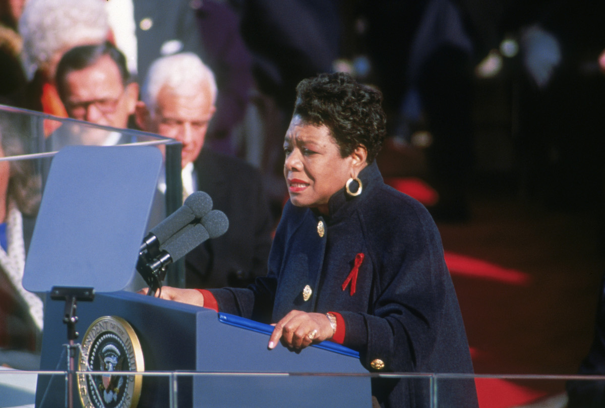 American poet Maya Angelou reciting her poem 'On the Pulse of Morning' at the inauguration of President Bill Clinton in Washington DC, 20th January 1993
