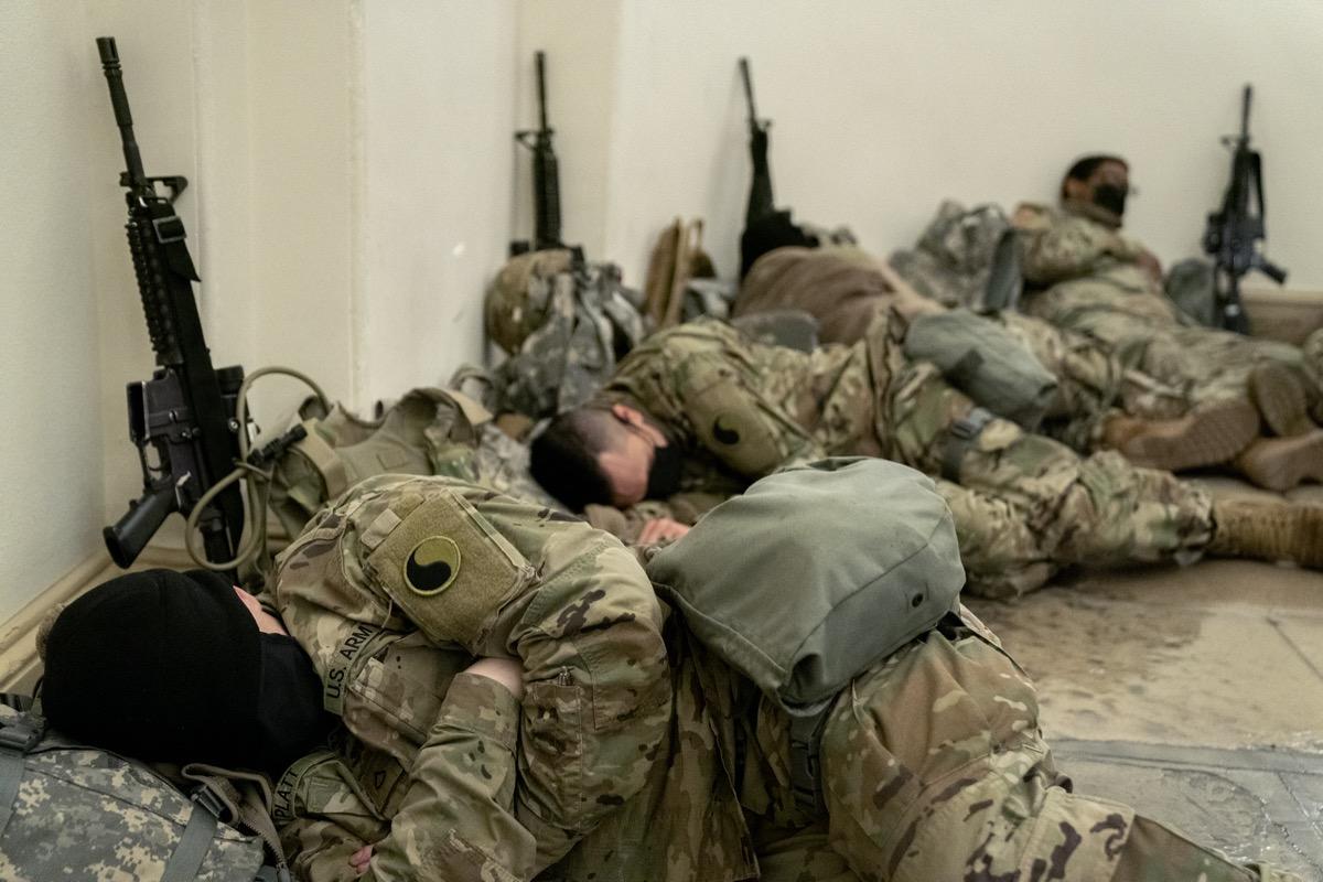 national guard members sleeping in U.S. capitol