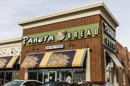 The exterior of a Panera Brea restaurant in Indianapolis, Indiana