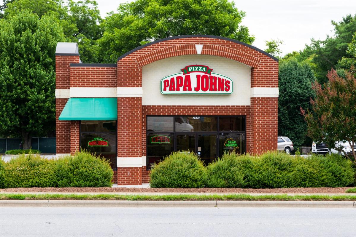 the exterior of a Papa John's restaurant in Hickory, North Carolina