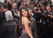 priyanka chopra on the red carpet at cannes in a purple or brown dress