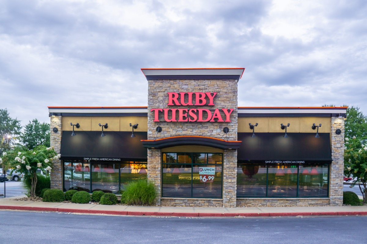 the exterior of a Ruby Tuesday restaurant in Loganville, Georgia