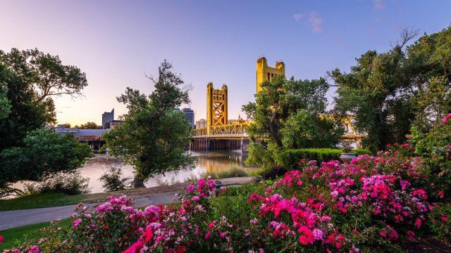 The sun rises over the historical landmarks of West Sacramento, California.