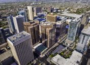 An aerial shot of skyscrapers that make up the skyline of Phoenix, Arizona