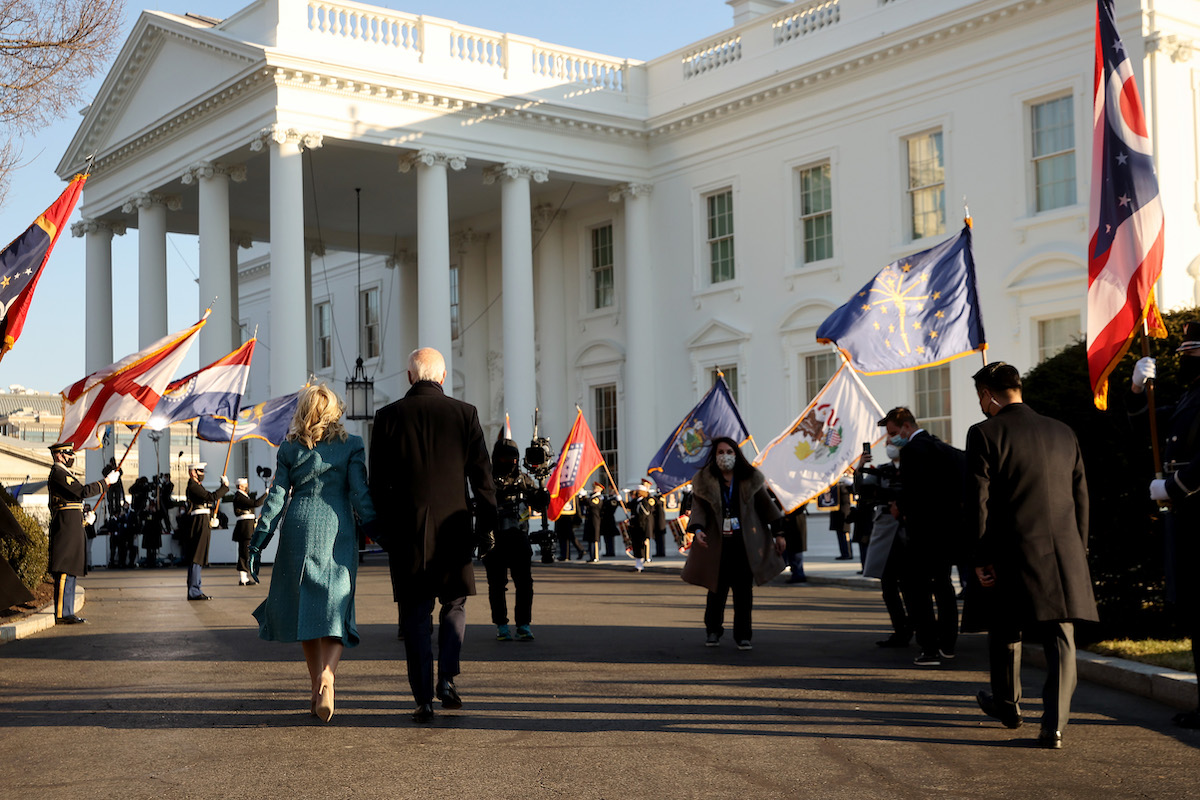 U.S. President Joe Biden and First Lady Dr. Jill Biden arrive at the White House after Biden's inauguration on January 20, 2021 in Washington, DC. Biden became the 46th president of the United States earlier today during the ceremony at the U.S. Capitol.