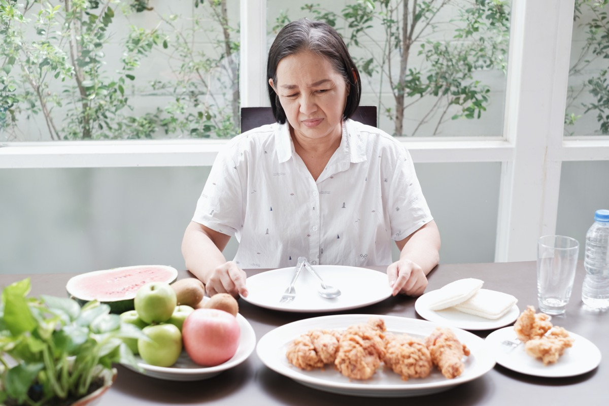 older woman who is not hungry