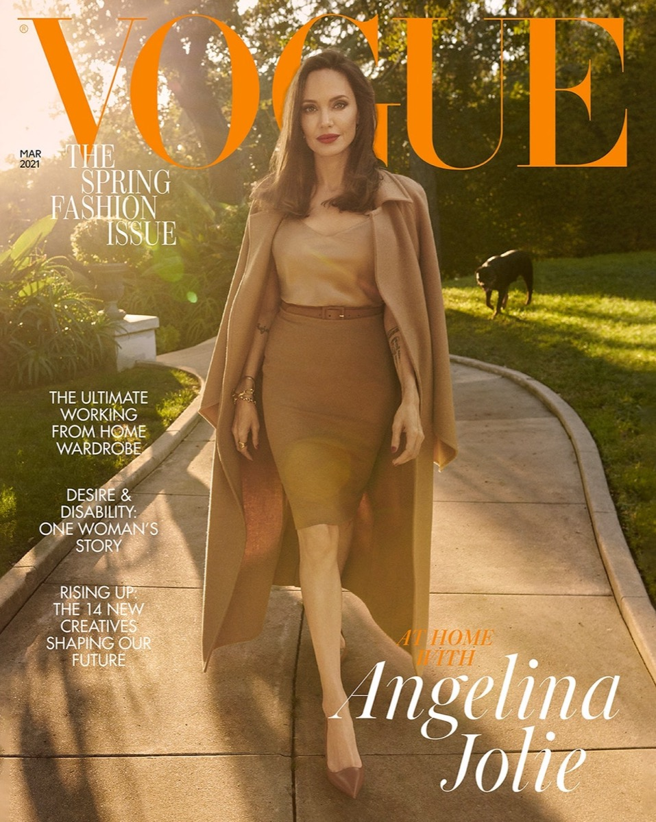 """Angelina Jolie on the March 2021 cover of British """"Vogue"""""""