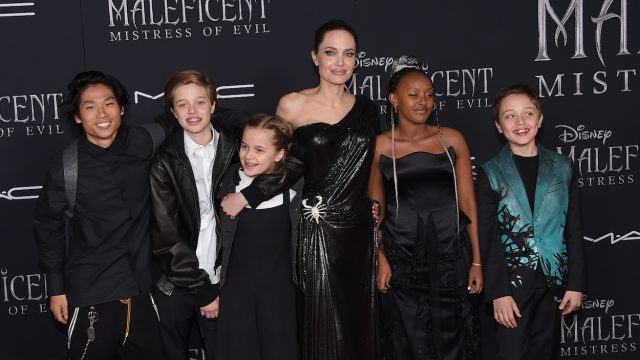 """Angelina Jolie and five of her kids at the """"Maleficent: Mistress of Evil"""" premiere in 2019"""