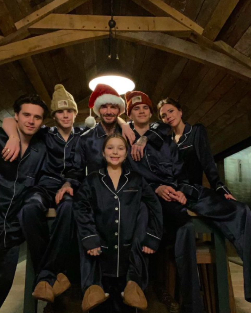 Victoria and David Beckham with their kids on Christmas 2020