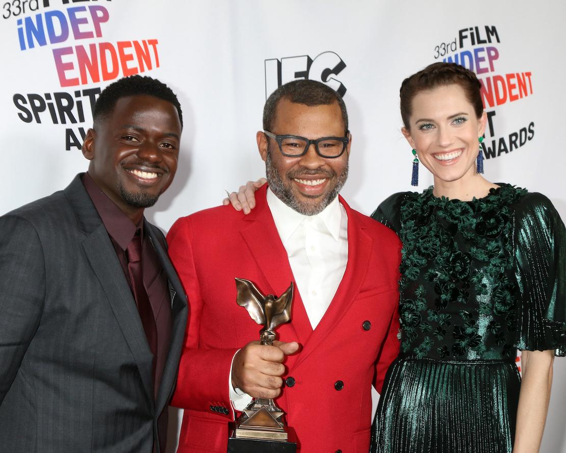 Daniel Kaluuya, Jordan Peele and Allison Williams at the Independent Spirit Awards in 2018