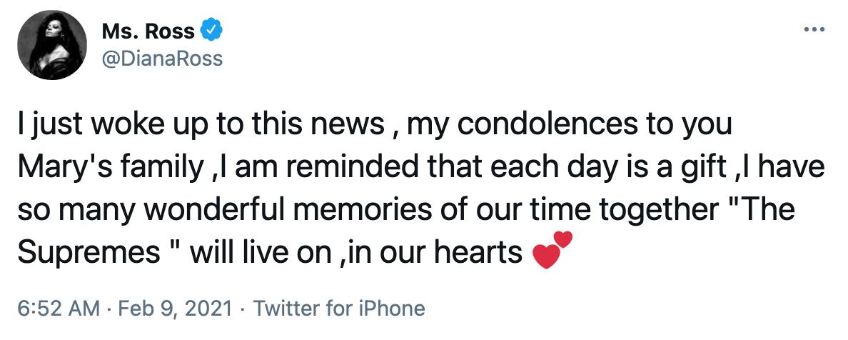 Diana Ross Mary Wilson tweet