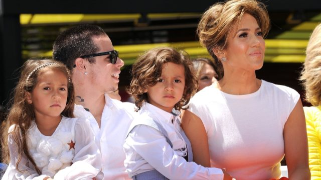 Jennifer Lopez, Casper Smart, and her twins Emme and Max in 2013