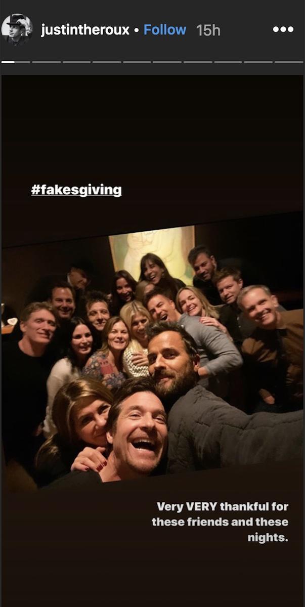 Justin Theroux Friendsgiving Instagram story