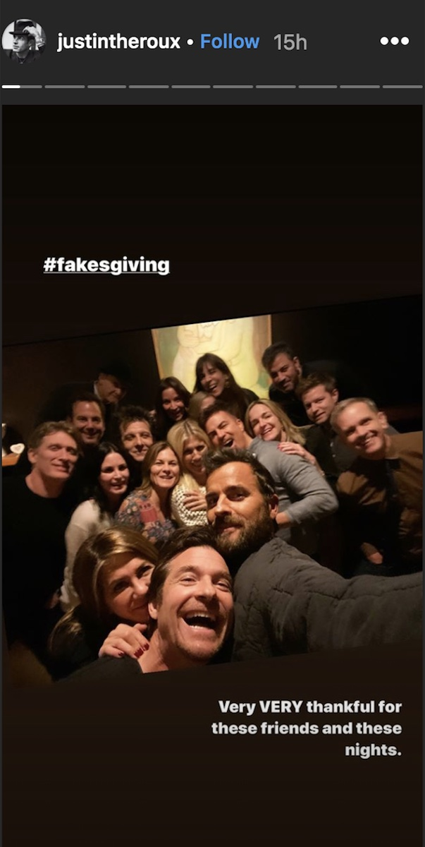 Justin Theroux's Instagram Story about Friendsgiving, which includes Jennifer Aniston
