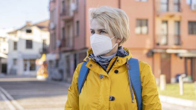 portrait of a woman wearing protective face mask in accordance with the European health guidelines FFP2/KN95