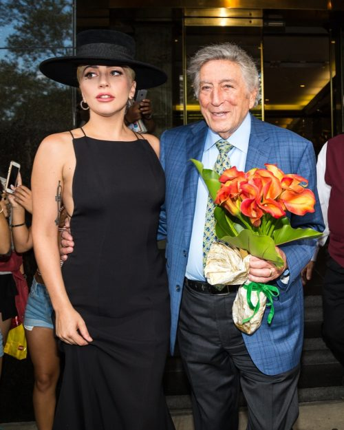 Lady Gaga and Tony Bennett in New York City on his 90th birthday in August 2016